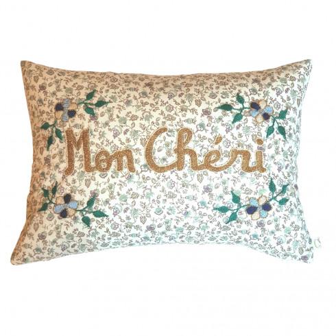 Embroidered cushion Mon chéri