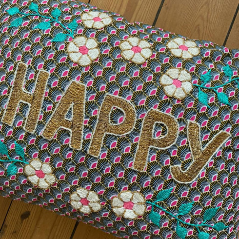 Embroidered cushion HAPPY