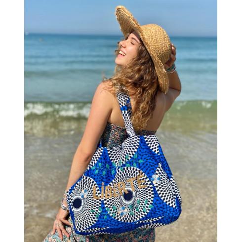 Kossiwa wax bag embroidered LIBERTE