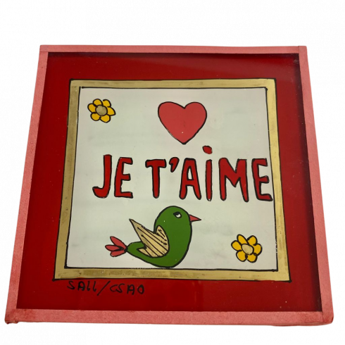 Painting under glass 10x10 JE TAIME