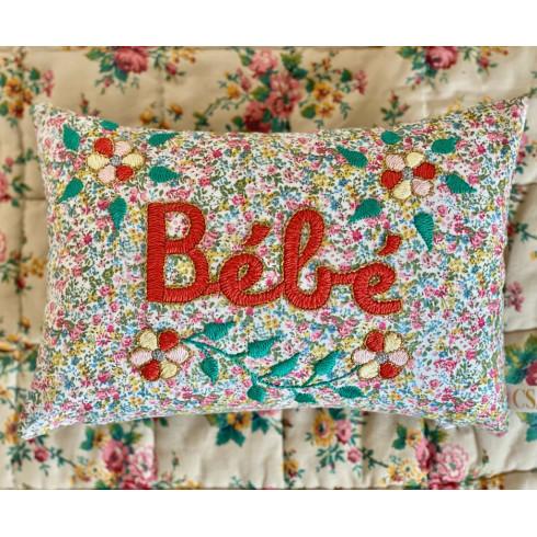 Mini embroidered cushion BEBE
