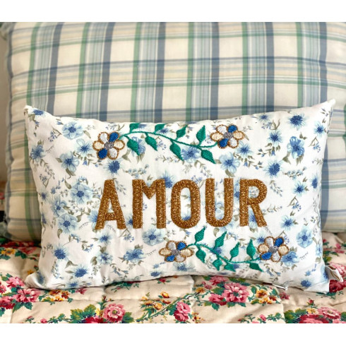 Mini embroidered cushion AMOUR
