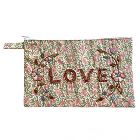 LOVE embroidered clutch