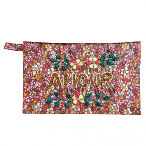 AMOUR embroidered clutch