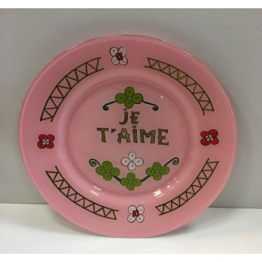 Hand Painted Pink Plate Je Taime