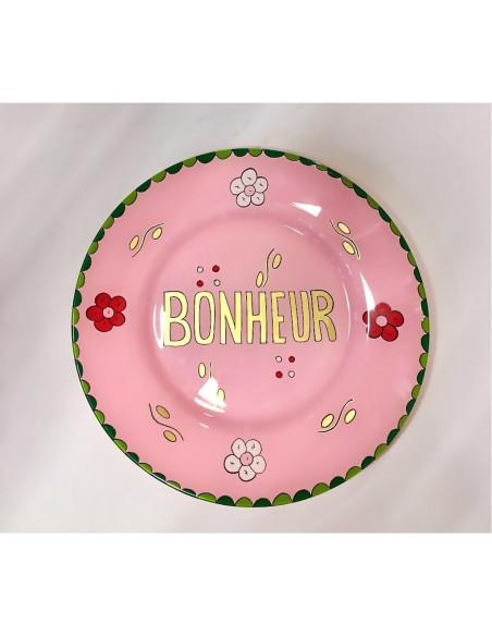 Assiette peinte à la main rose BONHEUR