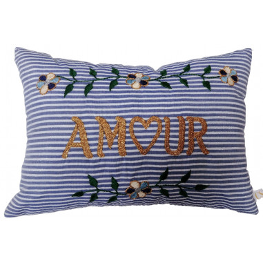 Coussin rayures brodé AMOUR