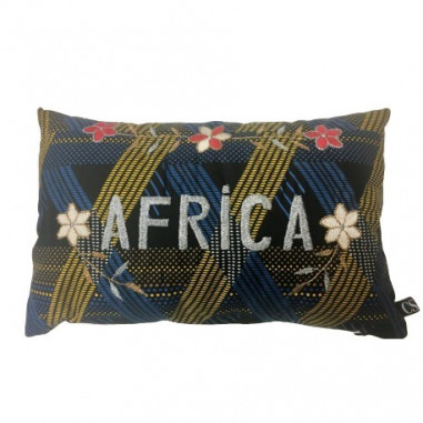 Coussin wax brodé AFRICA