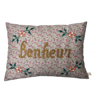 Coussin liberty from London brodé Bonheur