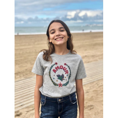 Kids T-shirt AMOUR in front, off-white