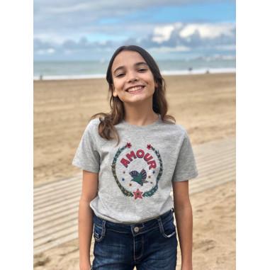 T-shirt enfant AMOUR devant, gris...