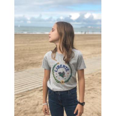 T-shirt enfant LIBERTE devant, gris...