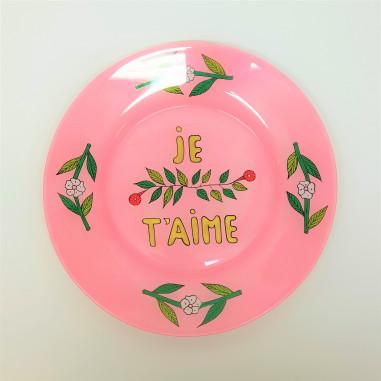 Assiette peinte à la main rose JE T'AIME