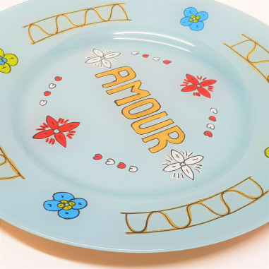 Hand painted blue Plate painted AMOUR