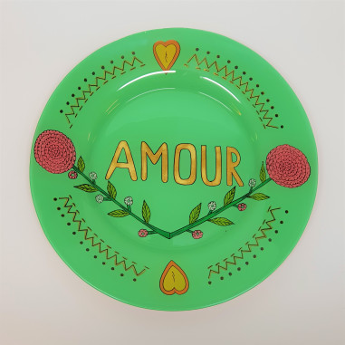 Hand painted green plate AMOUR ❤