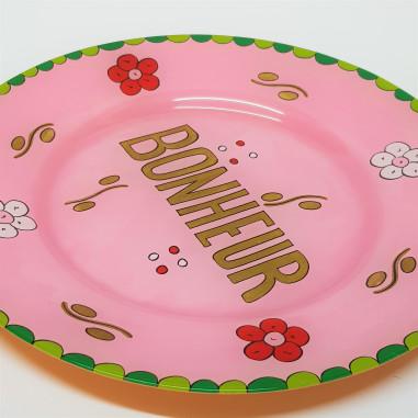 Hand painted pink plate BONHEUR
