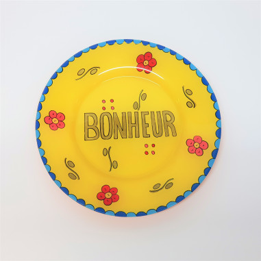 Hand painted yellow plate BONHEUR
