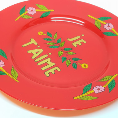 hand painted red plate JE T'AIME