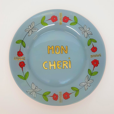 Hand painted blue plate MON CHERI