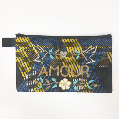 AMOUR embroidered clutch L