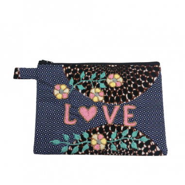 LOVE embroidered clutch M