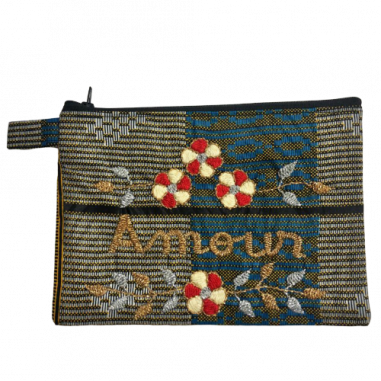 AMOUR embroidered wax clutch bag M