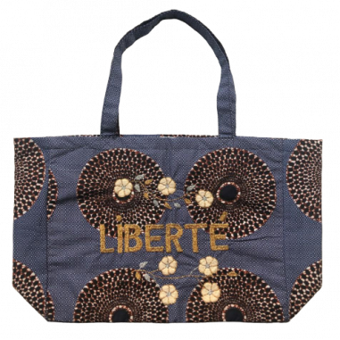 Kossiwa wax bag embroidered LIBERTE