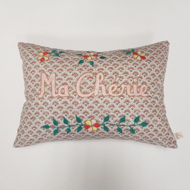 Embroidered cushion MA CHERIE
