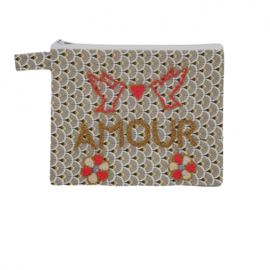 AMOUR embroidered message clutch