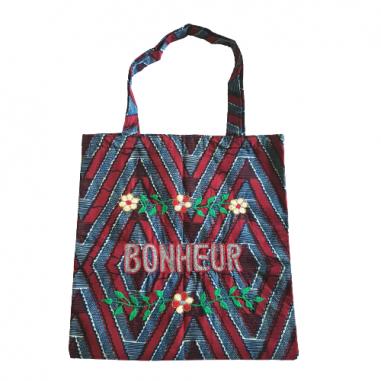 Lisette embroidered wax bag BONHEUR
