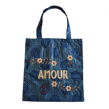 Lisette embroidered wax bag AMOUR
