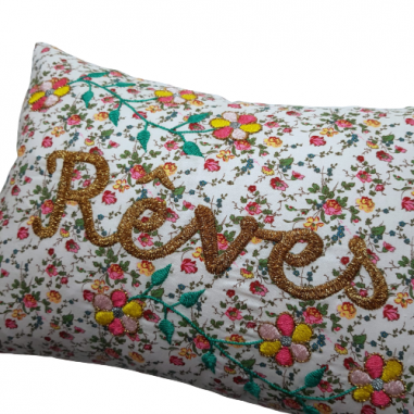 Embroidered cushion REVES