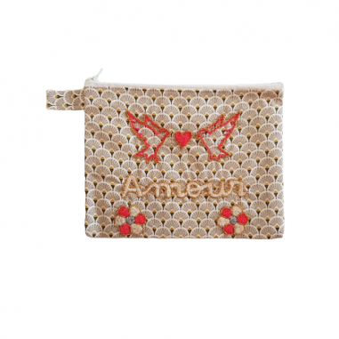 AMOUR MM embroidered clutch