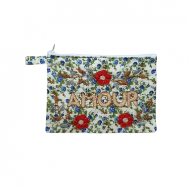 AMOUR embroidered clutch M