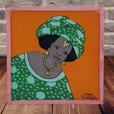 Peinture sous verre femme 10x10