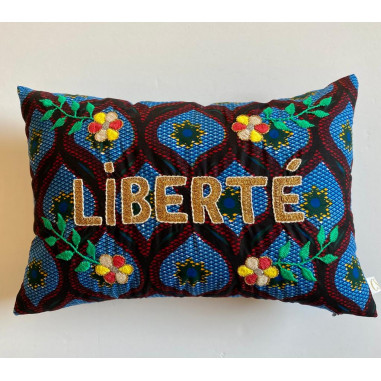 Embroidered wax cushion LIBERTE