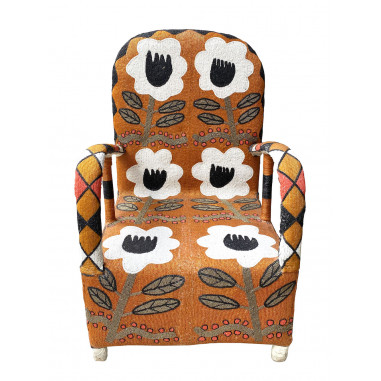 African Beaded Yoruba chair