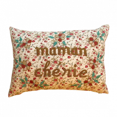 Embroidered cushion Maman chérie