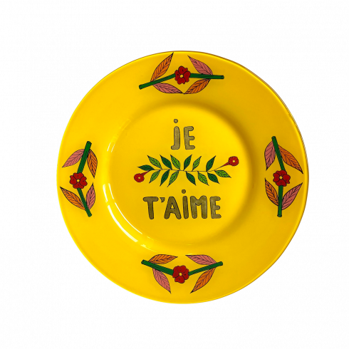 hand painted yellow plate JE T'AIME
