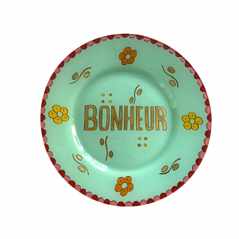 Hand painted green plate BONHEUR