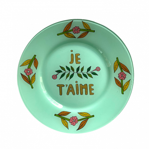 Hand painted green plate Je t'aime