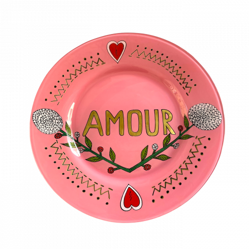 Hand painted pink Plate painted AMOUR ❤