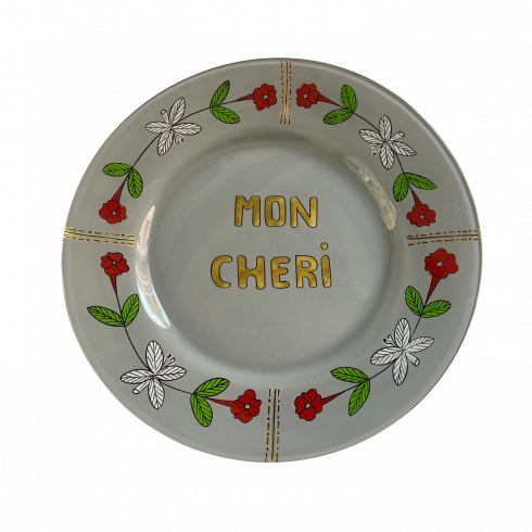 Hand painted grey plate MON CHERI