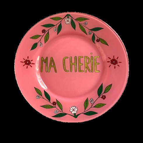 Assiette peinte à la main rose MA CHERIE