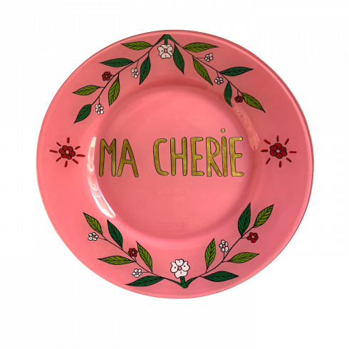 Hand-painted pink plate MA CHERIE