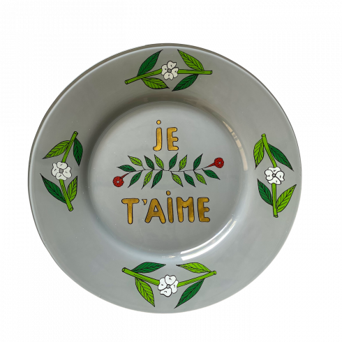 Hand-painted grey light plate je t'aime