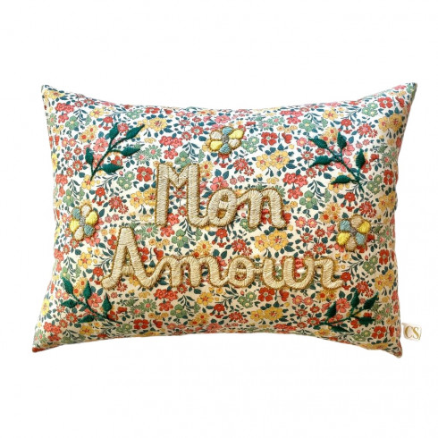 Embroidered cushion LIBERTE