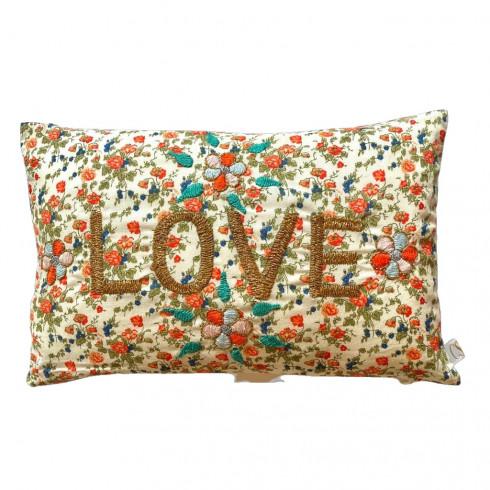 Mini embroidered cushion LOVE