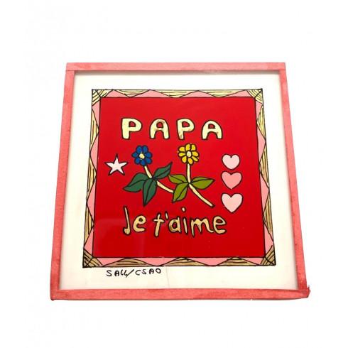 Painting under glass 10x10 cm - Papa...