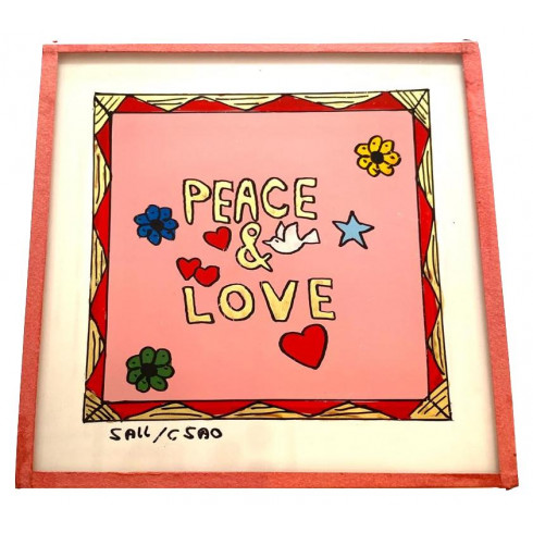 Painting under glass 10x10 cm - Peace...